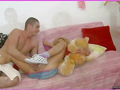 Brianna is home alone playing with her teddy bear when this babe is lastly approached by her stud. This Guy goes down on her cookie and laps up each drop of her moist snatch and then this guy bonks her slit hole with a purple sex-toy. That Guy fingers her narrowed little chocolate hole as this guy stretches the muscle. This Babe takes a double penetration of the sextoy and his fingers in her holes. BriannaтАЩs booty is priceless and narrowed and heтАЩs doing his most good to stretch it for his dick as this chab fingers her and stretches her muscle. Then little Brianna takes him in her mouth as heтАЩs still trying to stretch her open for his shlong. That Guy copulates her cum-hole for several minutes and then starts the task of putting the tip of his rod her butt in as that babe squirms. Lastly that babe sucks him off on the couch as that guy cums in her mouth.