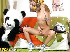 This toys porn episode starts in a very sinless way - a cute legal age young gal is reading a book, leaning on her large panda bear toy. What a good girl! Don't know which hard-cover it was, but it made the chick extremely aroused. This Babe started touching herself, and pretty soon the hard-cover was replaced by an enomous sex toy. Then the horny chick decided to go for fun sex with her panda bear, who was equipped with a dong penis just in case. They did it on the floor and on the couch, in so many poses and with such drive! U hav...