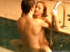 Check out this wicked redhead legal age young going skinny dipping with one of her male allies. This Babe thinks that it`s just the two of 'em and that that babe can do whatsoever that babe wants out of anyone else ever finding out, but secretly outside the pool, is a voyeur photographer. That Guy`s filming throughout the window, looking in handy the indoor pool and those two teenies getting very wicked. And it`s not lengthy in advance of they`re doing a lot more than just skinny dipping. Pretty Soon this legal age young mounts her paramour right in the pool. It doesn`t stop there either!
