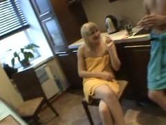 Horny honey sucks micro dong of her partner inside the washroom