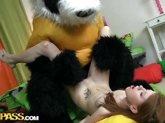 A cute teenage cutie masturbating - that's smth that can make anyone rock-hard! The nude horny hottie drilled her oozing cunt with a massive marital-device, then fell asleep. What happened later could have been her dream, 'cuz it's too weird. Her beloved toy, a huge panda bear, came alive and plunged into fun fucking with the oversexed chick. This Chab made the amused cutie engulf his large louring dong, then hammered the sexy legal age teenager's creamy twat. Wow, sex with large toys has not within reach any time looked so damn hot!...