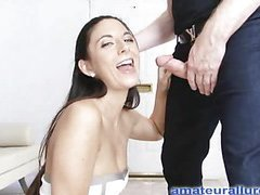 Jackie is an aggressive hard body honey that likes to engulf ramrod and swallow cum. That Babe wastes no time, and gets on her knees and starts engulfing. Thomas copulates her taut little snatch hard from behind as that babe entreats for it harder, whilst