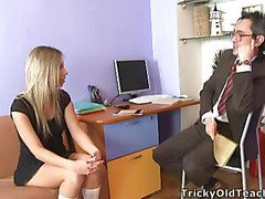 Blond chick came to the professor's office and in a during the time that his obese lounge was sliding betwixt her soft vagina lips.