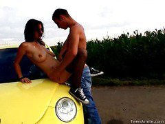 Berta wanted to go for a drive, but that babe didn`t tell her favourable boyfriend where this was going to end up. That Babe wanted some place where they could be alone and no one could hear her. This legal years teenager nympho is a loud moaner and when this guy really starts to fuck her hard, it`s becomes really difficult for her to stay quiet. But in this spot that`s in the middle of nowhere, they can be as loud as they want. They`re not holding back anything this time. That Guy pounds her bawdy cleft right on the hood of the car and covers her face with cum.