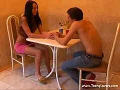 Those teenies' date was all so sweet romantic and stuff up to their first kiss. From then on the excitement took over and they just entirely lost control virtually ripping off their clothing to have a fun oral sex on a table and fuck on a petite kitchen chair. Not comfy sufficiently? Who cares when a large youthful dick is so unfathomable in that narrow legal age teenager cum-hole and the beauty is about to cum hard when her horny boyfriend nails her from behind. Yeah baby!