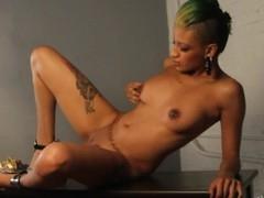 Sexy ebon Roggie rubs her snatch in her very first movie scene