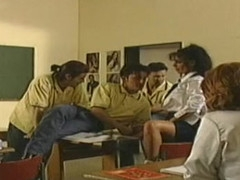 Nasty German schoolgirls fucked in the classroom