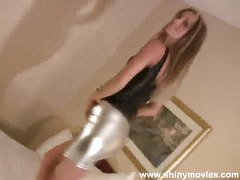 Cupcake doing a sexy flirty dance in skin constricted spandex bike shorts