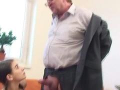 Horny older teacher is seducing chick's lusty beaver
