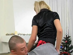 Pigtailed blonde sweetie strokes and sucks a massive dick