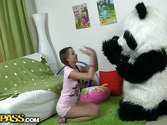In this unusual sex clip u'll watch a beautiful teenage hotty playing with toy. But it's not just a toy, it's a large panda bear, and this guy's ergo fun to play with! This Chab can do anything the angel wants, but this babe should strip stripped in return. But imagine the angel's surprise when that babe saw panda's huge strap on! This Babe had not on tap any time thought of him as sex partner previous to, but since this chab's ergo well-equipped and horny, why not go for a nasty sex play with him? So the panda bear banged the breasty teenage in all possible poses ...