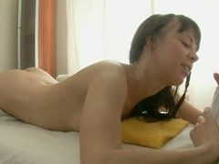 Loveliness gets a huge vibrator on her clits in advance of wild drilling