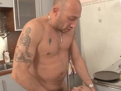 Linda and Cristal get fucked hard and fast in the kitchen